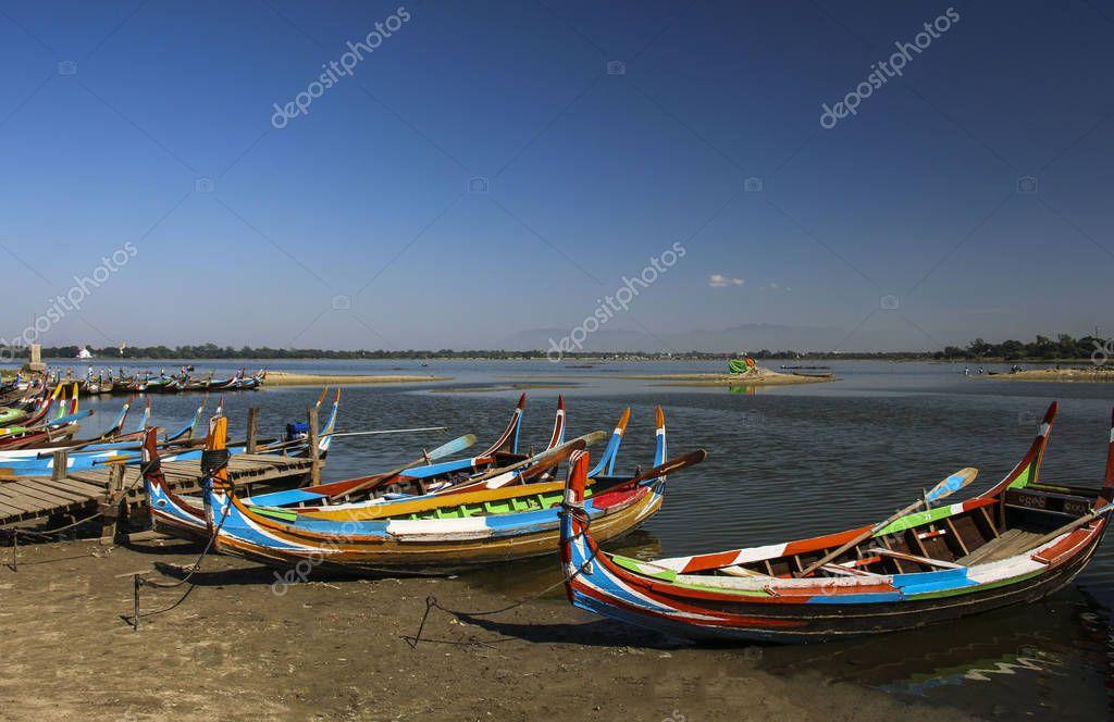 The local boat in Taungthaman Lake near U Bein Bridge in Amarapu