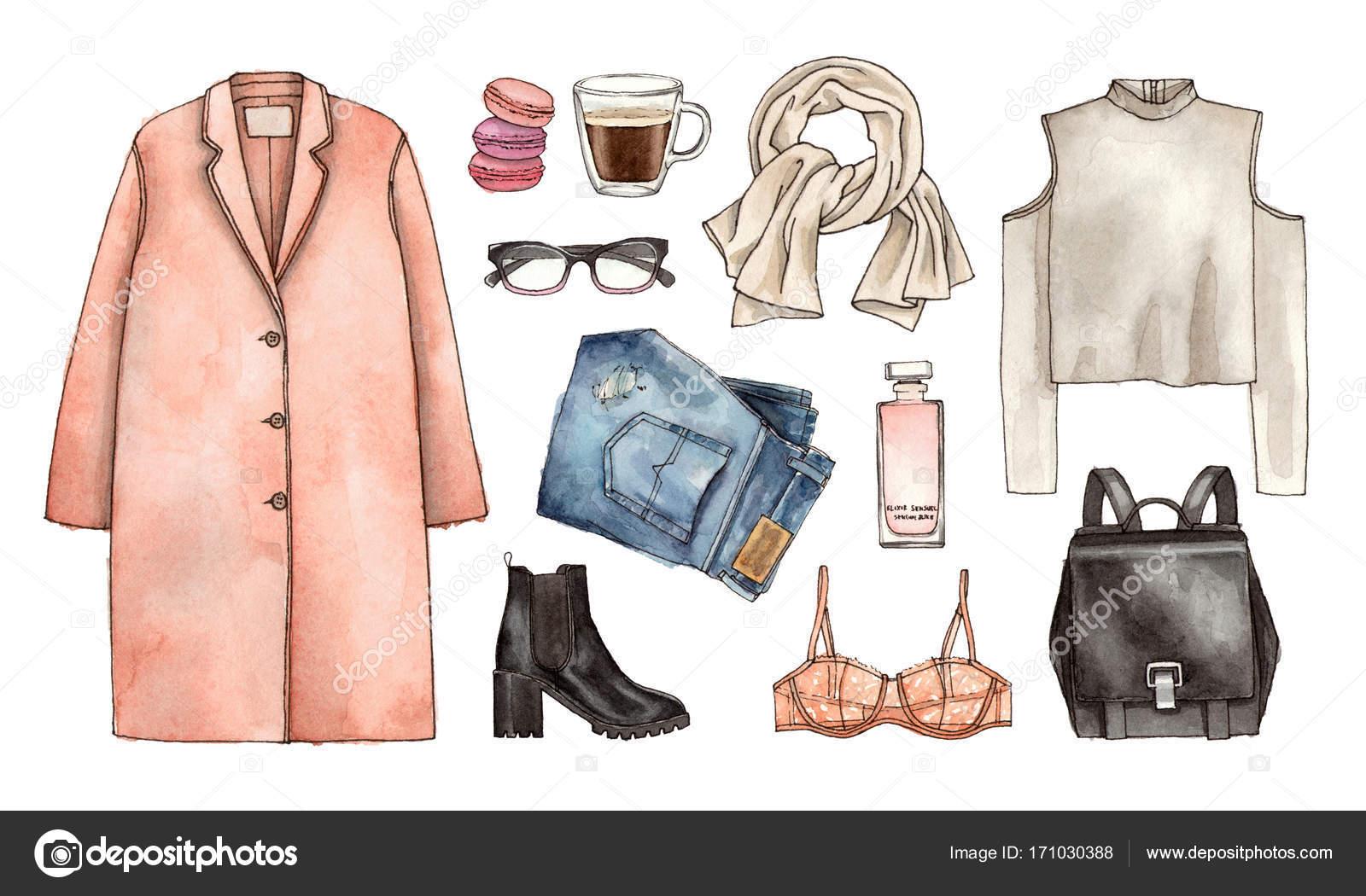 Kleding Fashion.Aquarel Hand Tekenen Schets Fashion Outfit Een Reeks Van Kleding En