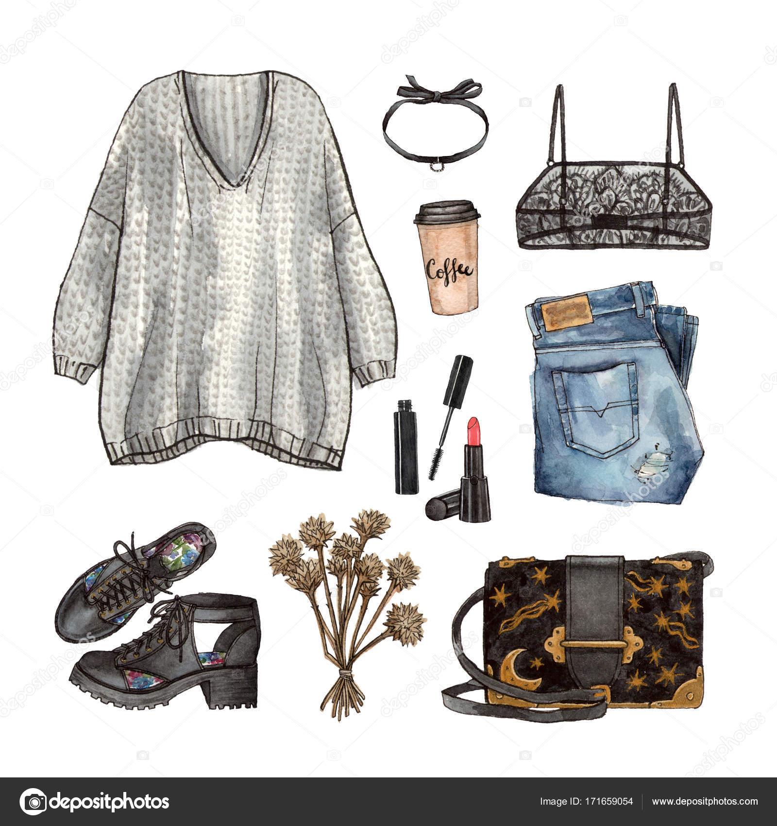 70d34437af5c Ακουαρέλα χέρι Ζωγραφική σκίτσο ντύσιμο μόδα, μια σειρά από ρούχα και  αξεσουάρ. casual στυλ. απομονωμένα στοιχεία — Εικόνα από ...