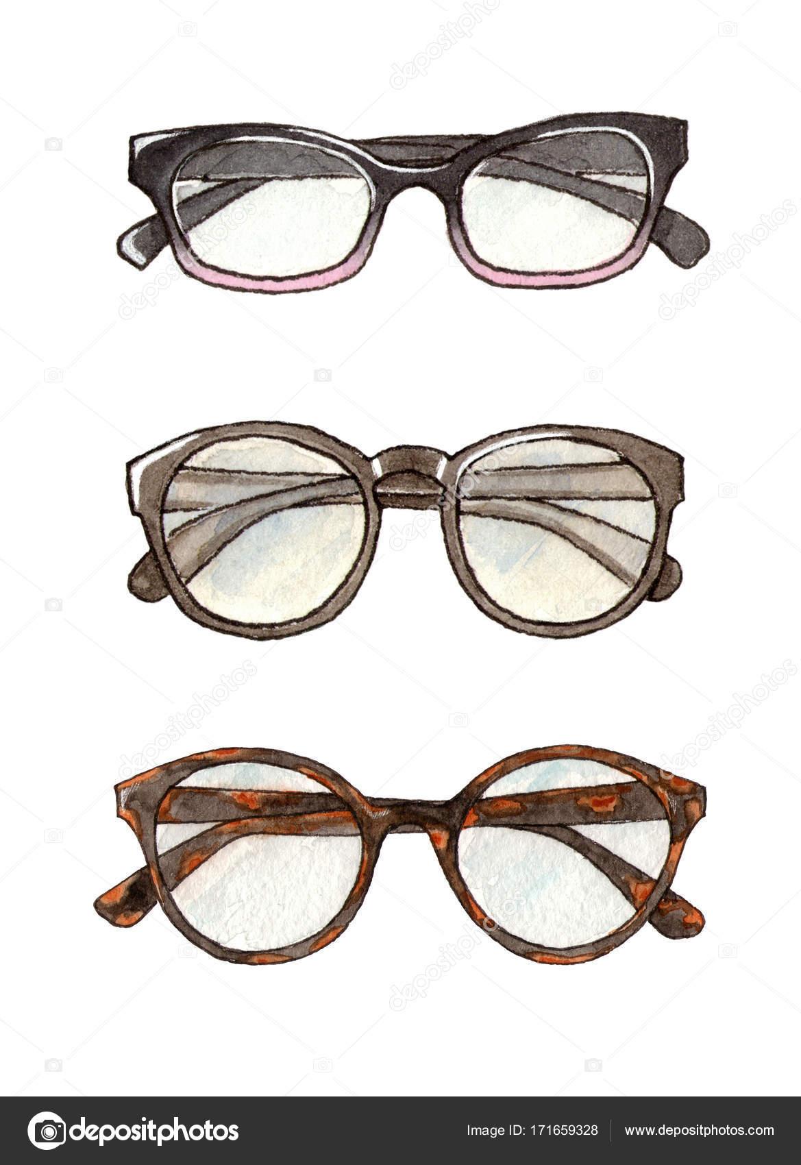 c81fd311d1c Watercolor fashion set of glasses — Stock Photo © alenaganzhela ...