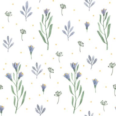 Watercolor herbs and flowers bluebells. seamless pattern on white background stock vector