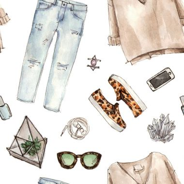 watercolor fashion sketch pattern.