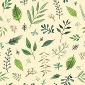 acquerello erbe e foglie dipinte a mano senza cuciture su fondo giallo