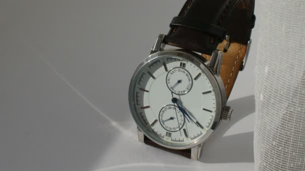 Luxury man watch detail, chronograph close up 4K
