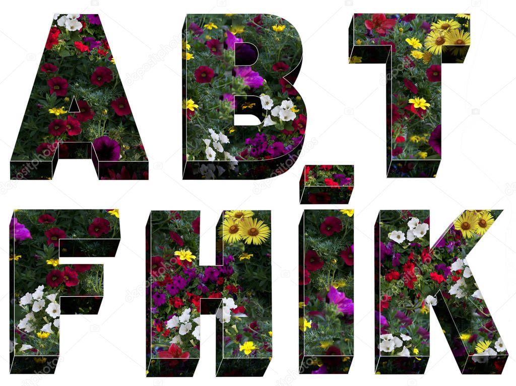 alphabet font floral