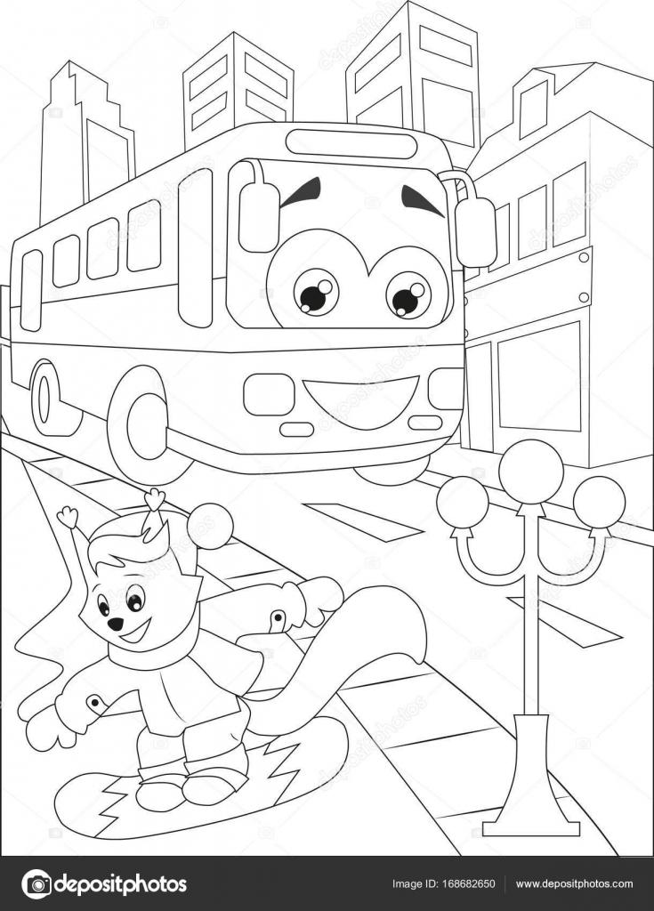 Página para colorear con autobús y ardilla. dibujo blanco y negro ...
