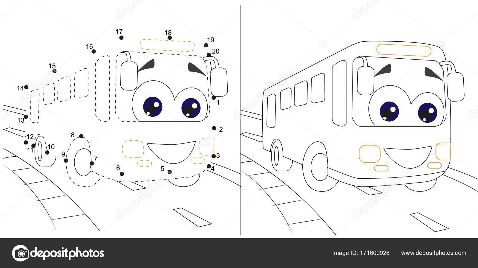 Bus.Numbers Spiel für Kinder. Punkt zu Punkt Bildung Kinder Spiel ...
