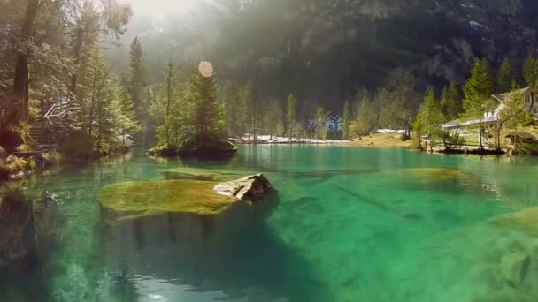 lake resort pond turquoise water nature background aerial view fly over