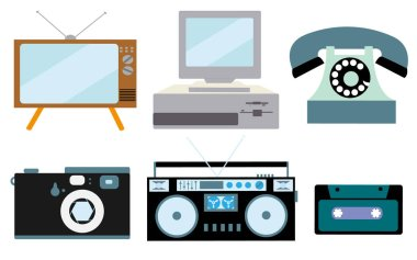 A set of retro electronics, technology. Old, vintage, retro, hipster, antique kinescope TV, computer with floppy, disk phone, camera, cassette audio tape recorder, audio cassette. Vector illustration.