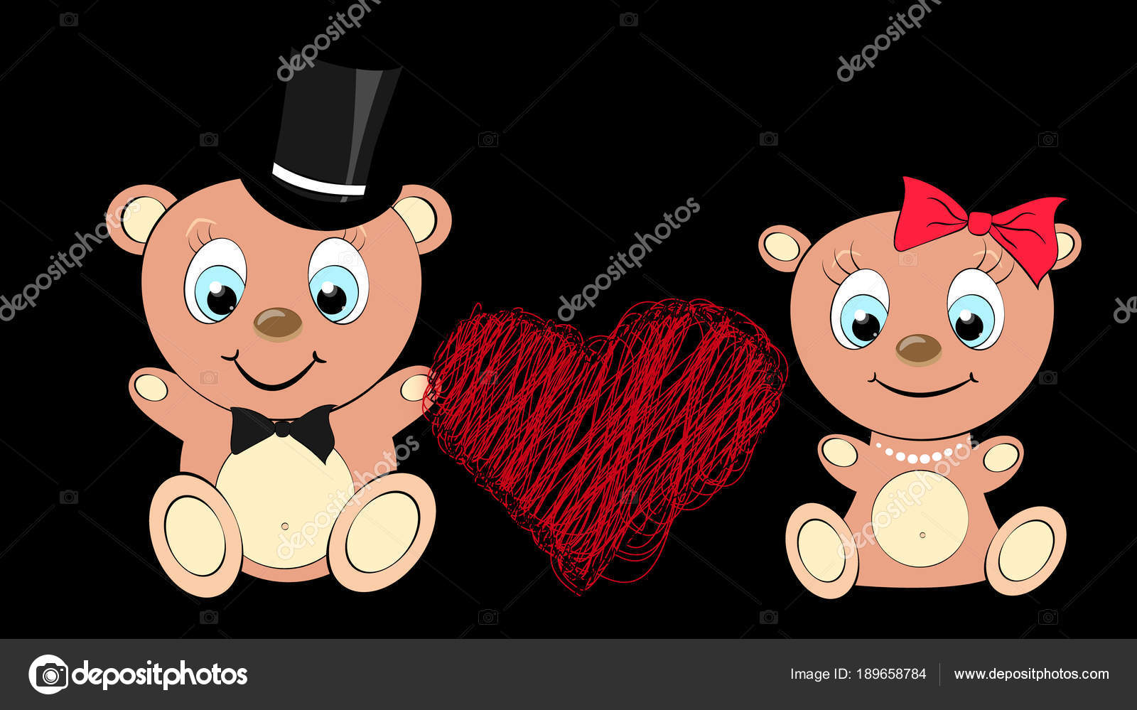 Two Lovers Cute Beautiful Brown Bear Girl And Boy With Big Head And Blue Eyes In A Cylinder And Bow Tie Bow And Pearl Necklace On A Black Background And