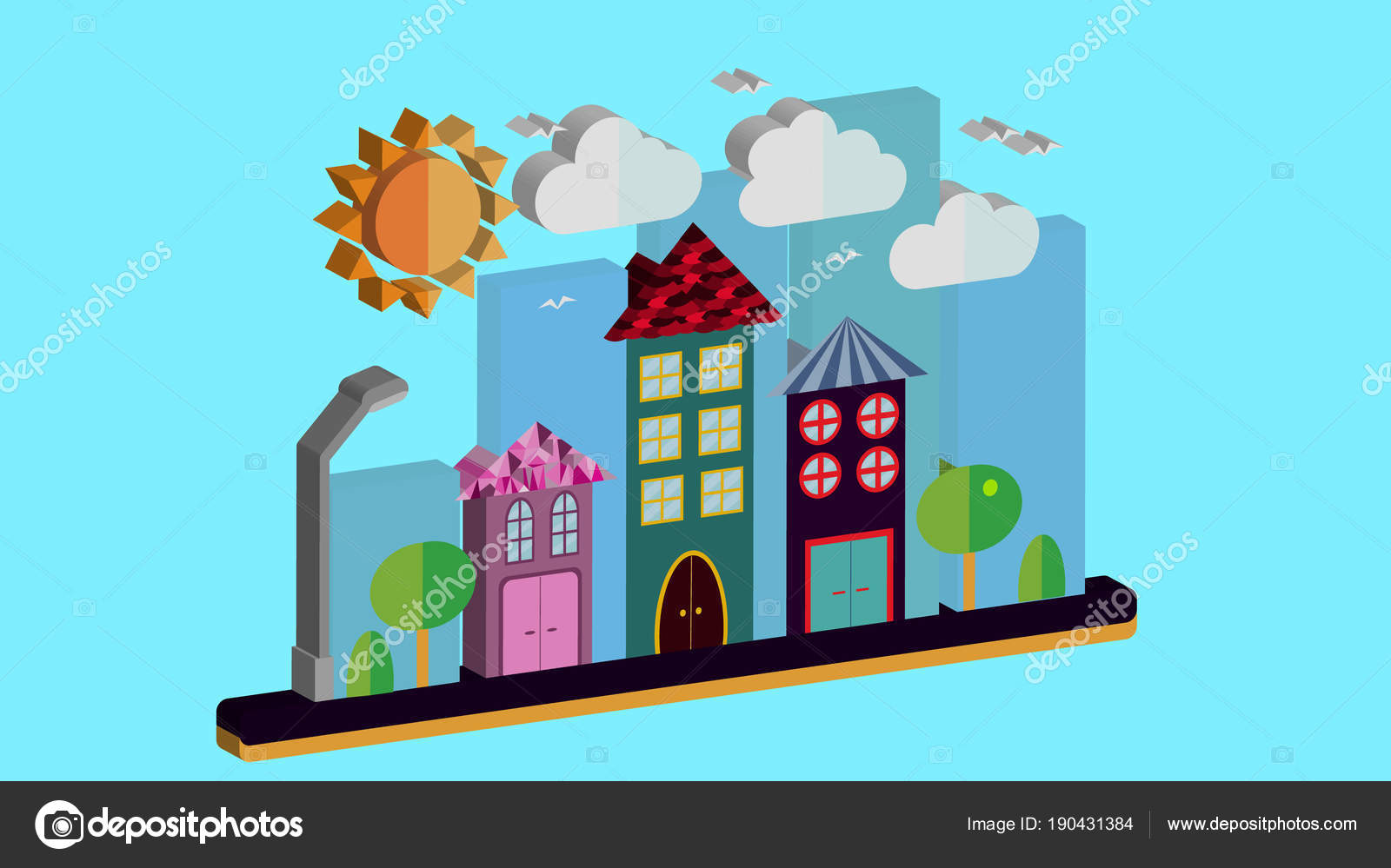 Die Stadt Mit Häusern Mit Dachschräge Und Verschiedene Schöne Fliesen Mit  Einer Laterne Sonne Wolken Und Bäume Auf Einem Blauen Hintergrund.