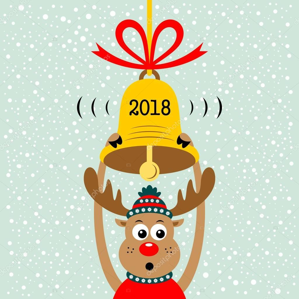 Clipart: christmas bells | Christmas cartoon reindeer and ...