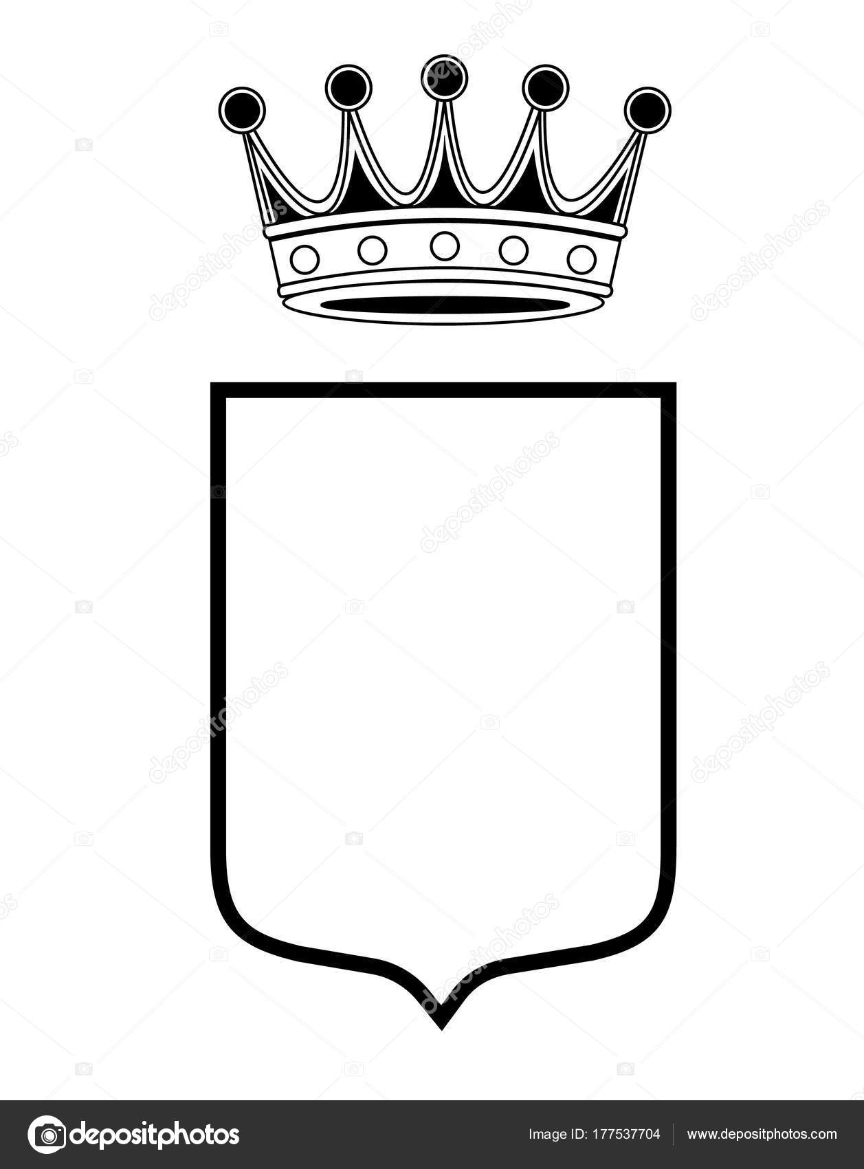 Family Shield Template Crown Coat Arms Crest Vector Isolated Stockvektor