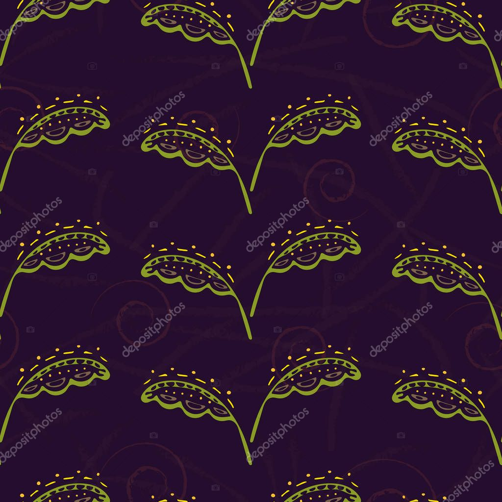 Fantasy hand-drawn floral seamless pattern. An illustration for