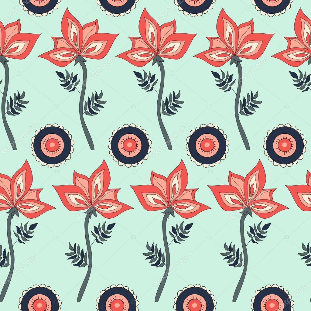 Fantasy hand-drawn floral seamless pattern.
