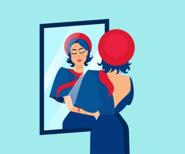 Vector of a beautiful stylish woman admiring herself in a mirror.