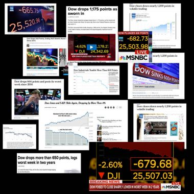2018-02-05: The U.S. stock market sheds over 666 points on Friday then follows on by losing over 1,100 points on Monday 2/5/2018.  Editorial composite image of many stock market headlines from news organizations.
