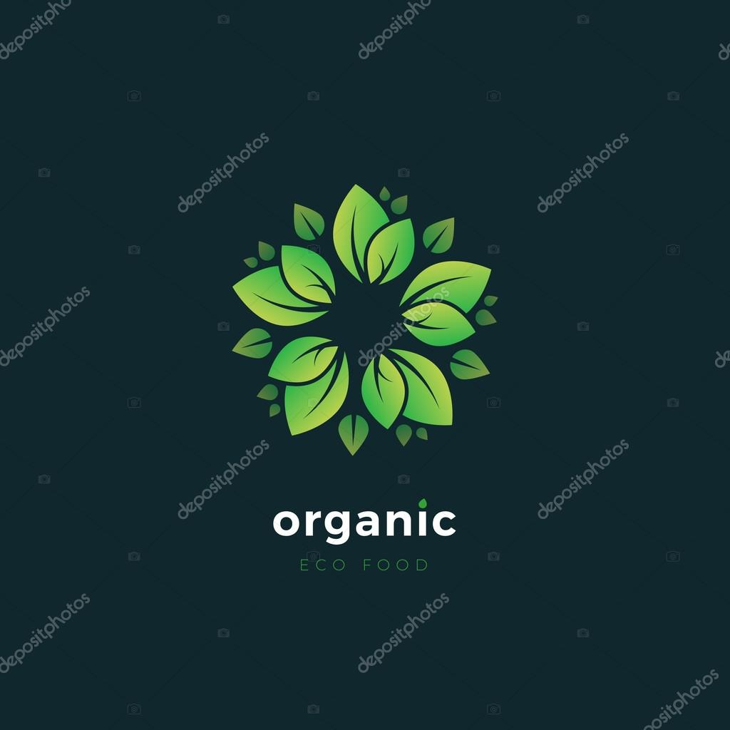 Vector organic logo with floral elements. Ecology concept logo