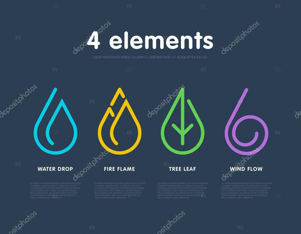 Nature elements. Water, Fire, Earth, Air. Infographic vector template