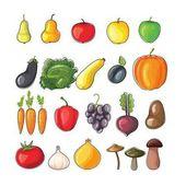 Sada světlé plochých vector ovoce a zeleniny. Čerstvé bio zdravé potraviny.