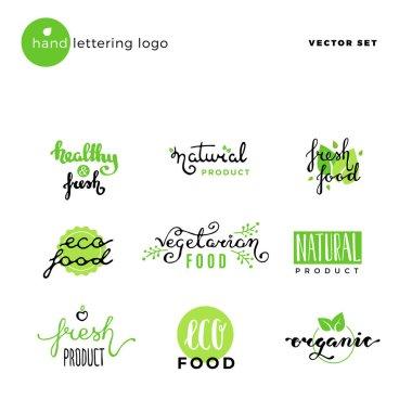 Hand lettering vector logo of vegetarian ecology fresh food.