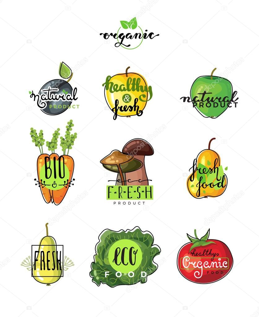 Hand lettering logo of vegetarian ecology fresh food. Hand drawn typeface.