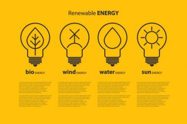 Ecological infographics with yellow outline bulb with sun, drop, wind power station and leaf as logo with copyspace on blue background. Idea of eco-friendly source of energy. Renewable energy concept