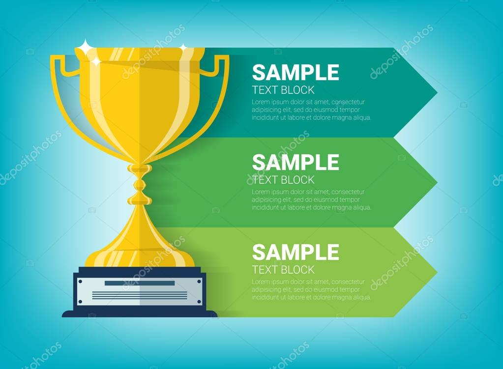Graphic information with winner cup and ribbons