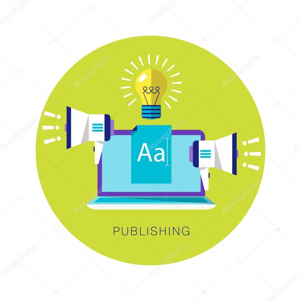 Contrast flat vector illustration. Publishing, blogging, proclamation, advertising