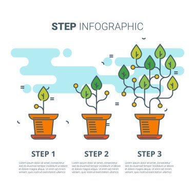 Step infographic with plants. Growing concept. Vector line art illustration.