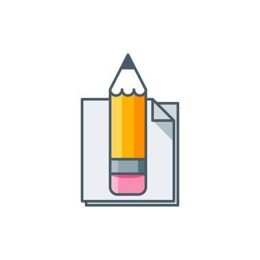 Pencil with notes. Flat lilne art vector icon