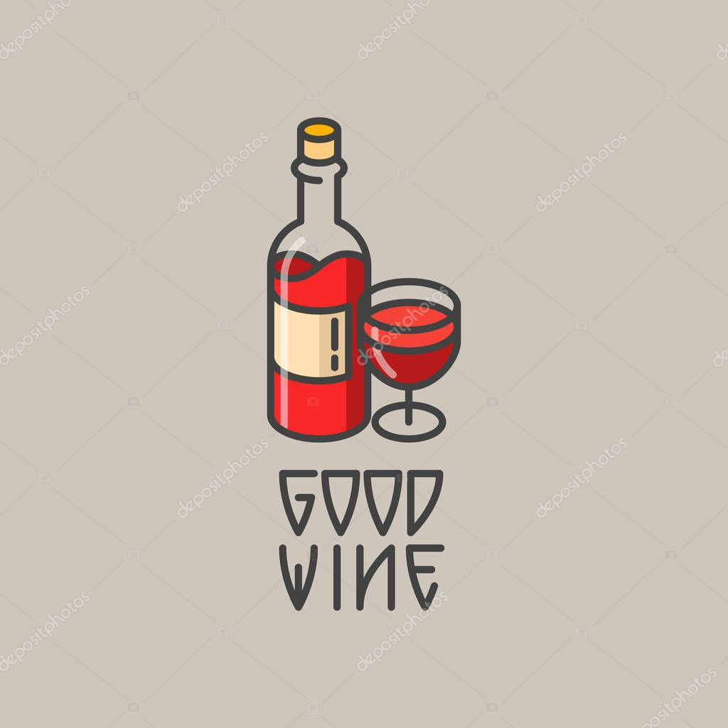 Logo of wine bottle and wineglass. Vector line art illustration