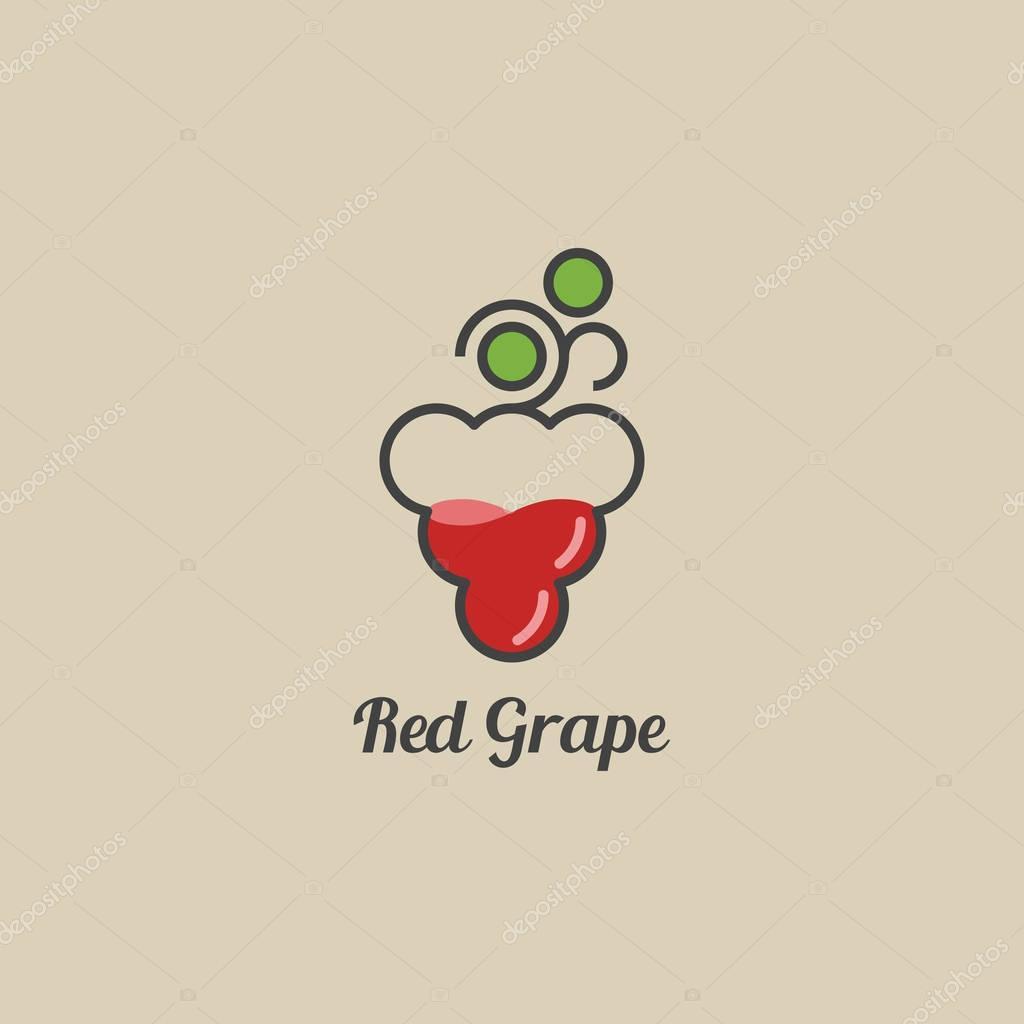 Wine grape logo. Grape full of vine. Vector line art illustration