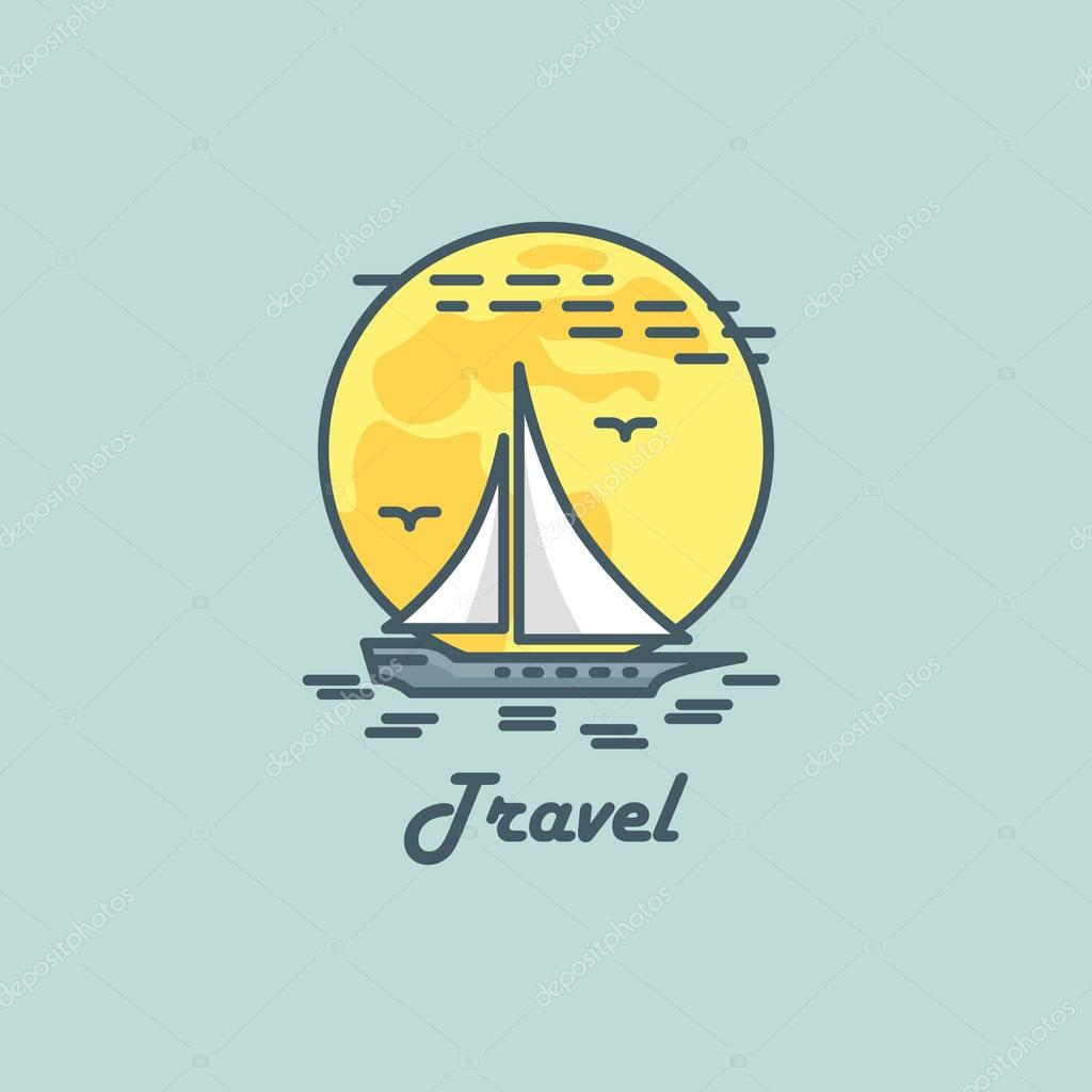 Travel logo. Vector illustration with yacht and moon