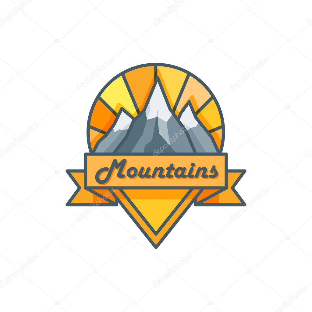 Line art logo with mountains, sun and ribbon. Travel concept. Vector illustration. Badge with mountains