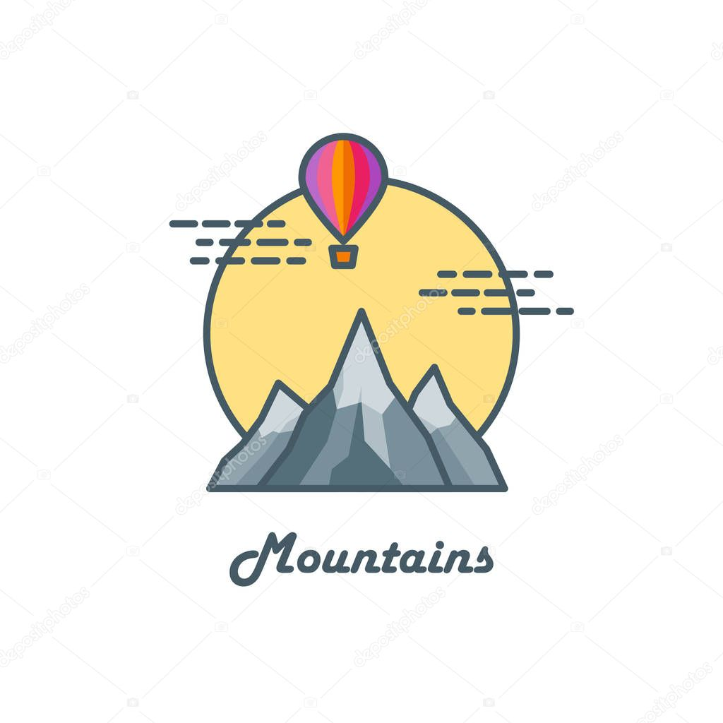 Line art logo with mountains, sun and balloon. Travel concept. Vector illustration