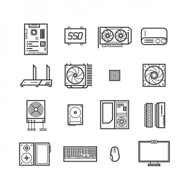 Computer hardware, PC parts and components vector thin line icons set
