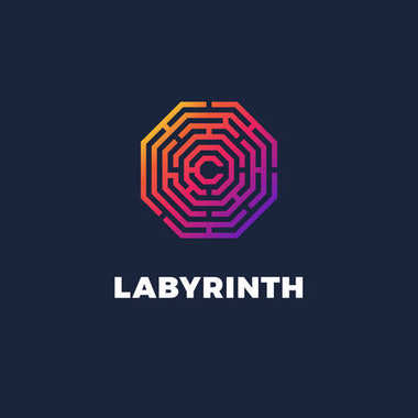 Color gradient logo of labyrinth. Vector logotype