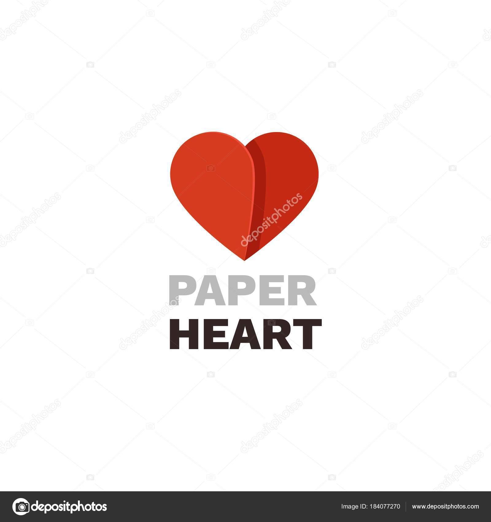 Paper Heart Vector Logo. Heart Design Template U2014 Stock Vector  Paper Design Template