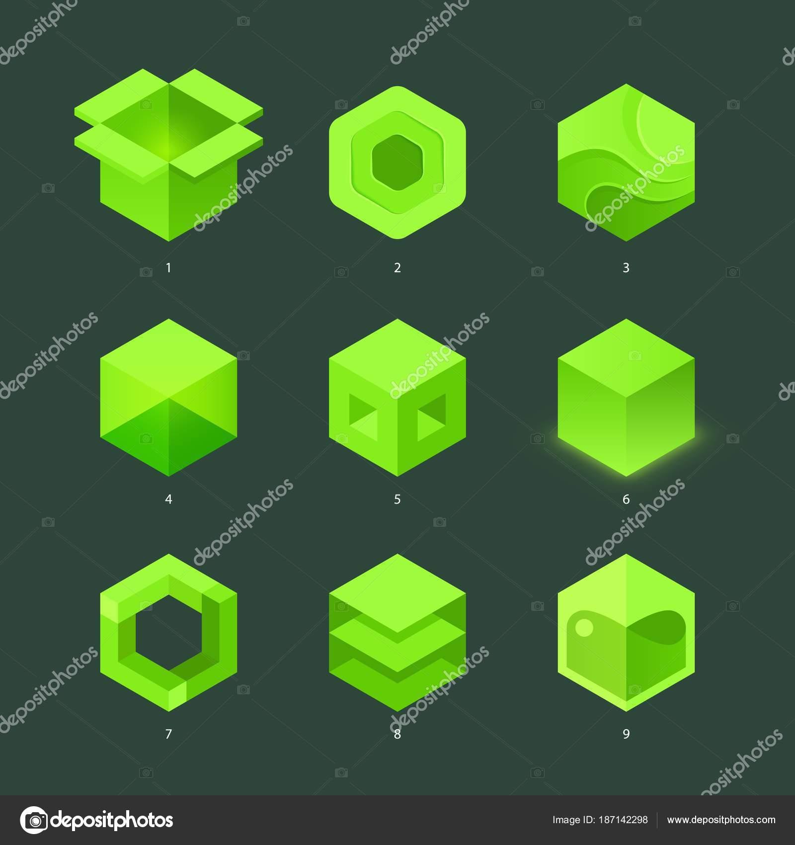 Vector conjunto de hexágono verde plana y logos con estilo ...