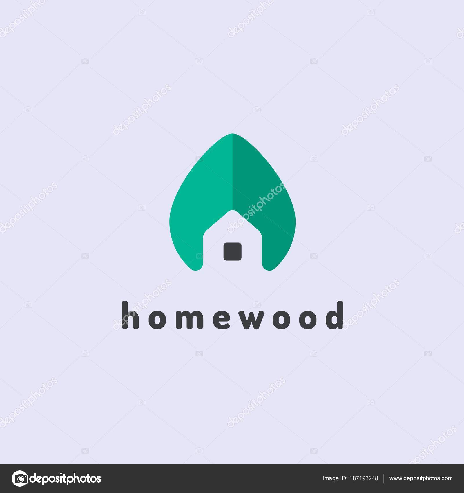 Minimalist Vector Logo Of House And Tree Leaf Eco House Concept