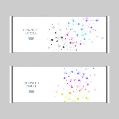 Roll up banner stand with abstract connect background