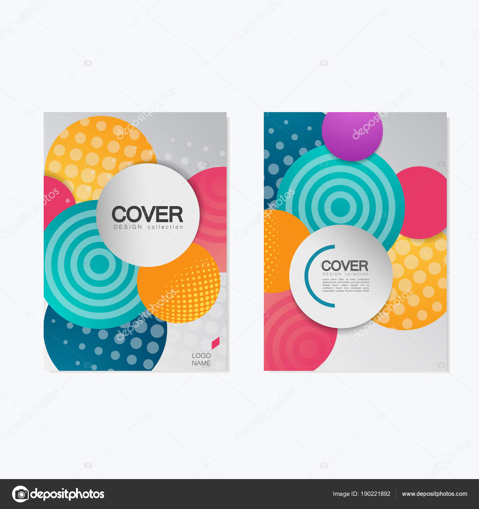 colorful brochure design template vector illustration with circles