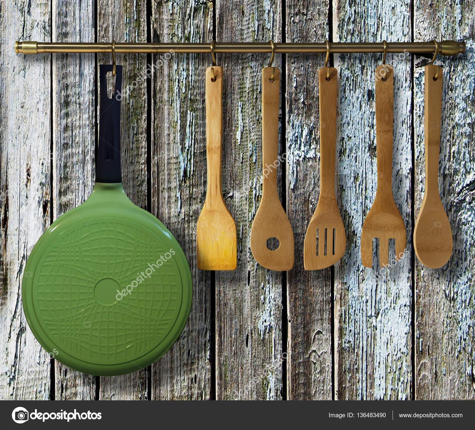 Messing Küchenutensilien, Koch Zubehör — Stockfoto © Krivosheevv ...