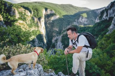 Hiker and small yellow dog