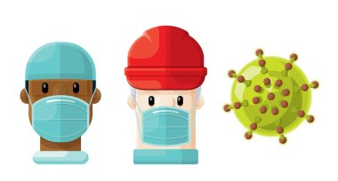 Flat Vector Set of Two Medical Professionals and a Virus Icon 5
