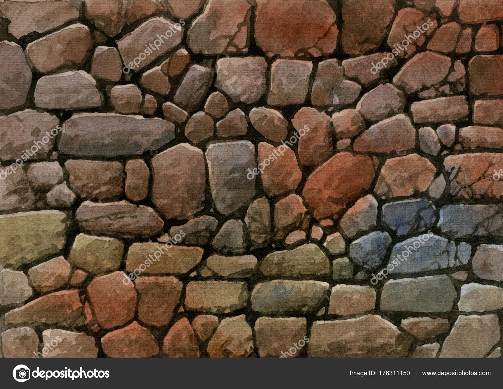 Muro Piedra Acuarela Sobre Papel Fotos De Stock C Aleksop 176311150 - Muro-piedra