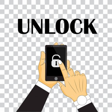 vector illustration of unlock telephone