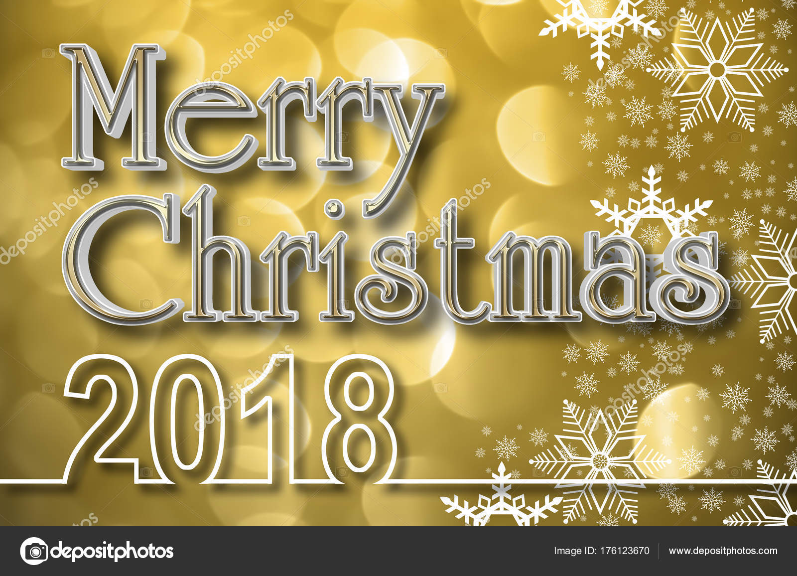 Buon Natale Freestyle Testo.Stock Illustration Oro Buon Natale 3d Defocused Cerchi Di Luce