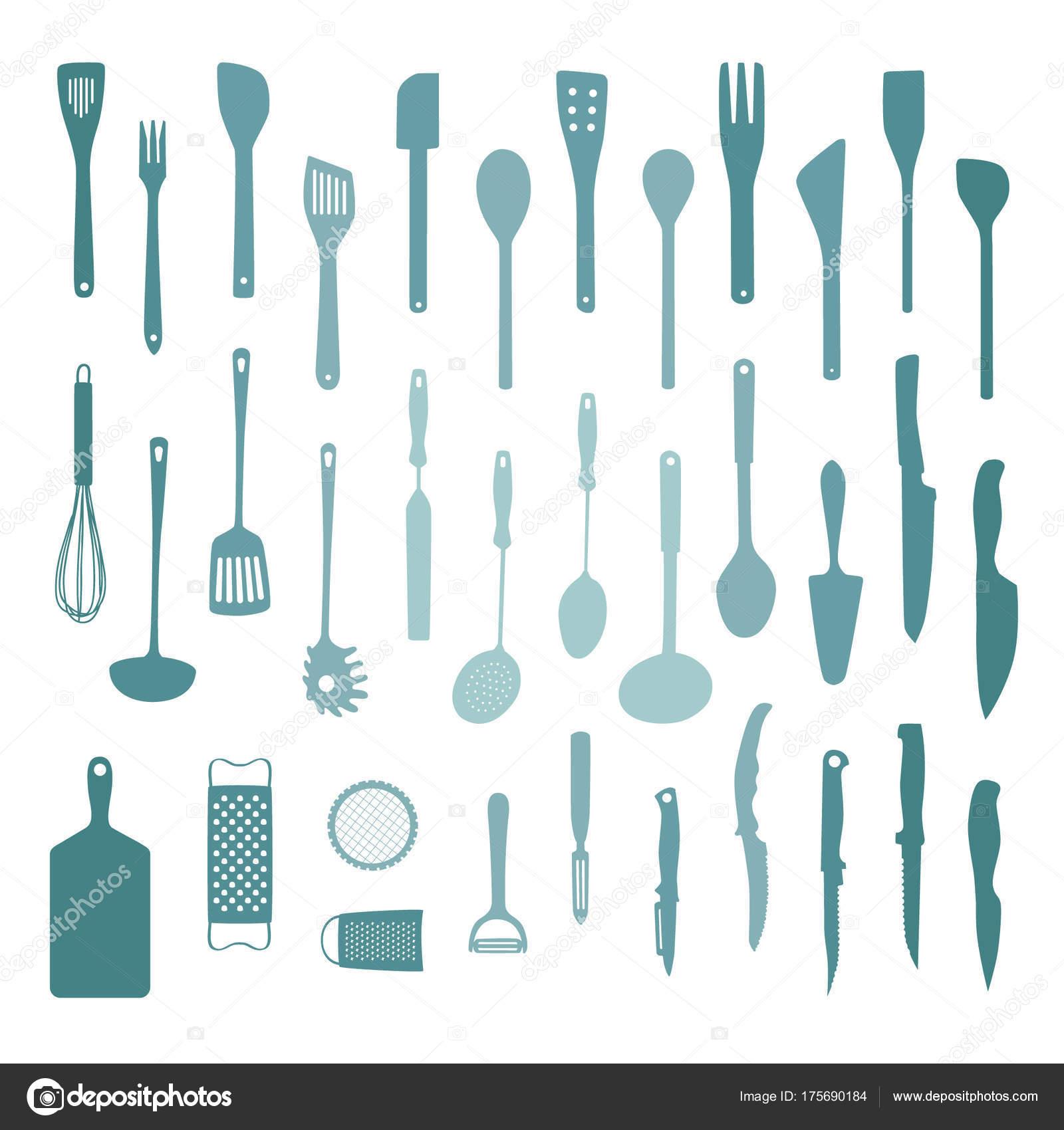 Set Various Kitchen Tools Vector Illustration — Stock Vector ...